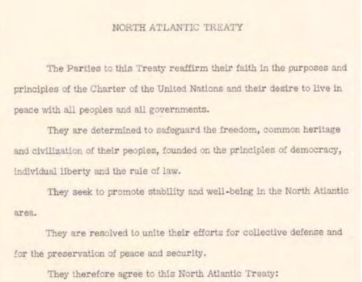 Summary of the North Atlantic Treaty