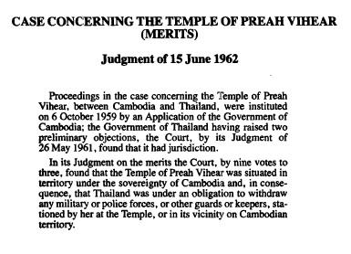 The Temple of Preah Vihear (Cambodia v. Thailand)