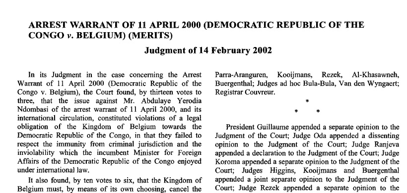 Arrest Warrant of 11th April 2000: Belgium v. Congo