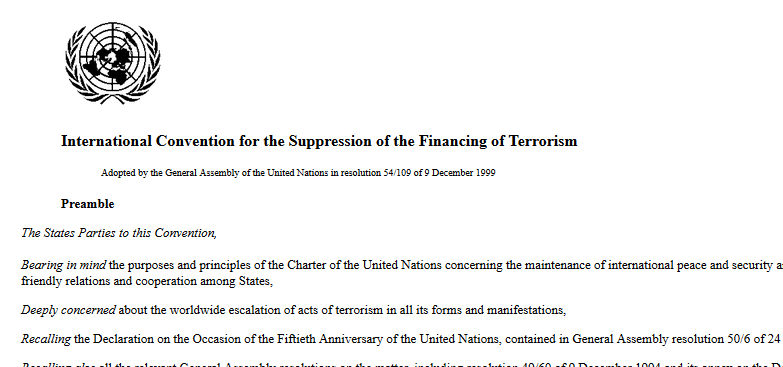 International Convention for the Suppression of the Financing of Terrorism