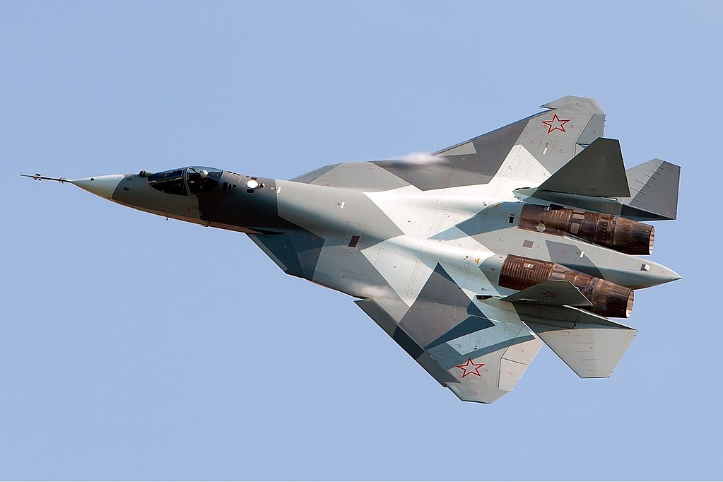 Sukhoi Su-57. Photo by Alex Beltyukov - http://www.airliners.net/photo/Russia---Air/Sukhoi-T-50/2002344/L/, CC BY-SA 3.0, https://commons.wikimedia.org/w/index.php?curid=17128712