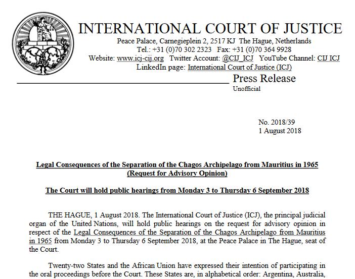 UK-Mauritius advisory opinion on the Chagos Archipelago