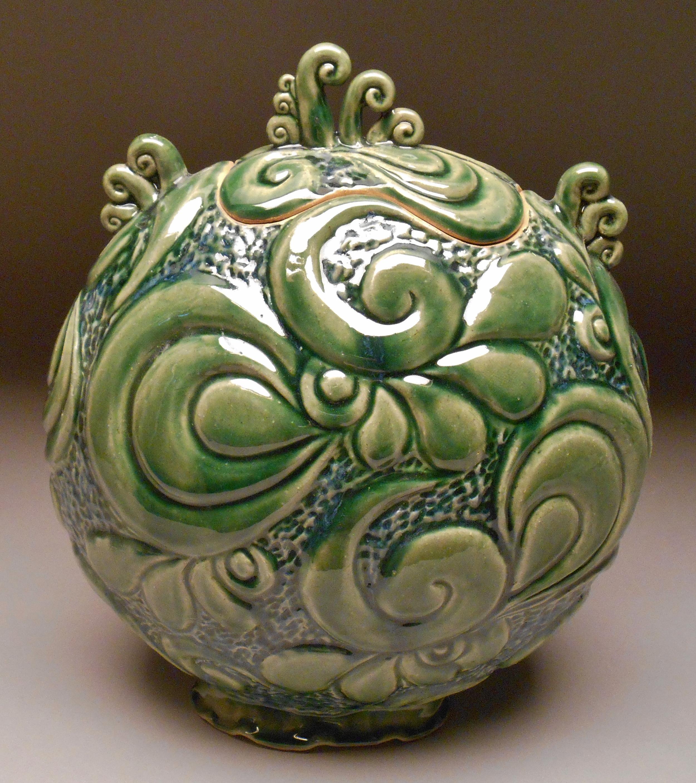 #301, Carved Jar, 14x12x7