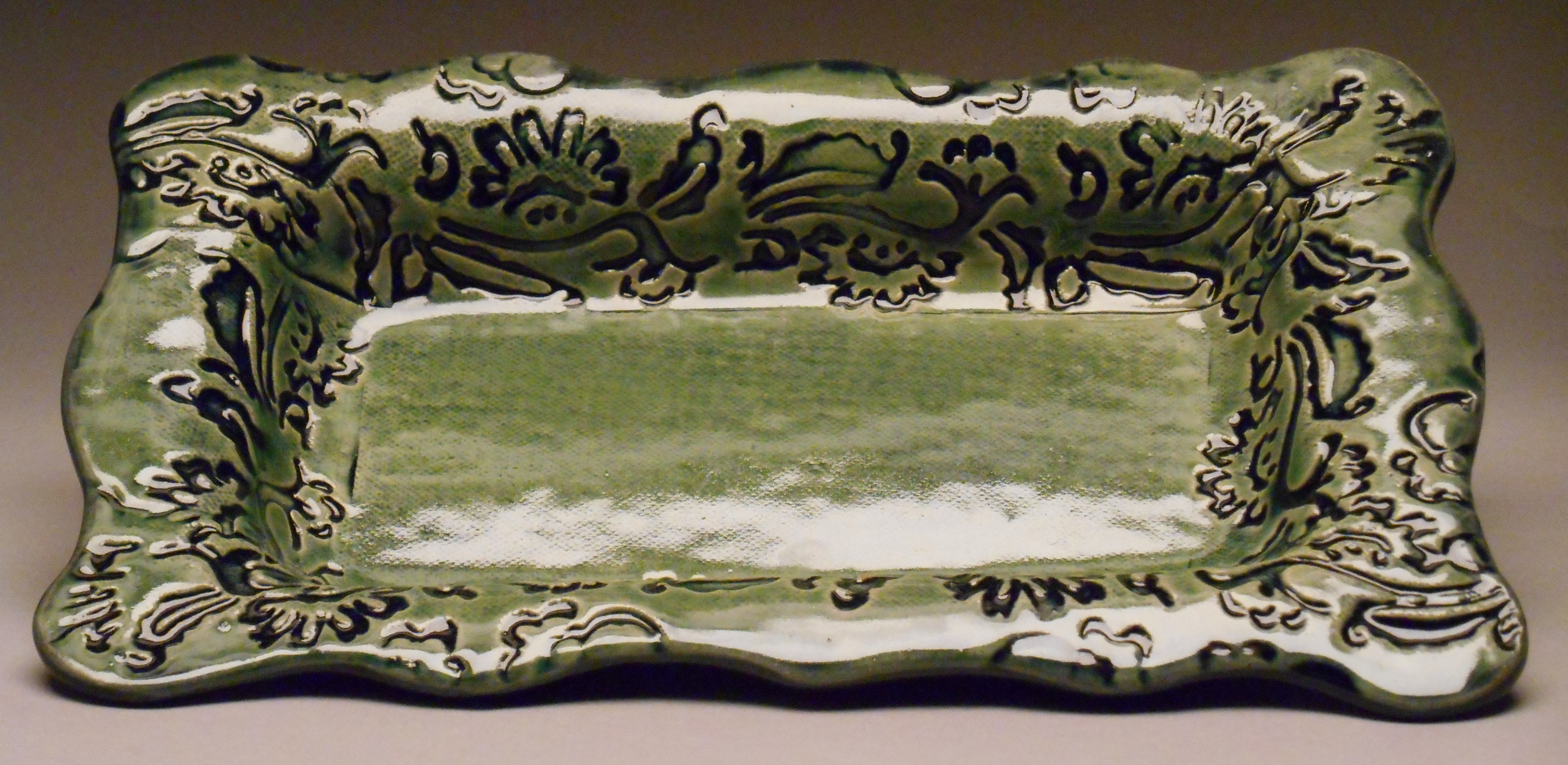 #172, Small Rectangular Tray with Floral Texture, 10.5x6