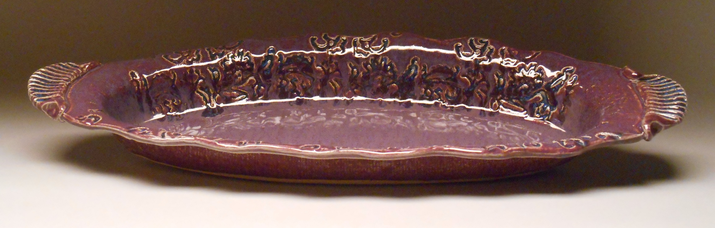 #297, Boat Tray with Floral Texture, 21x8x2