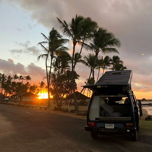 Just doesn't get better than this | Salt Pond Beach 🚌🌴🤙 - #sunset #kauaicamper #campervan #saltpond #kauai #camping #travel #westfalia #vw #latergram #nofilter #optoutside #hourfun #beach