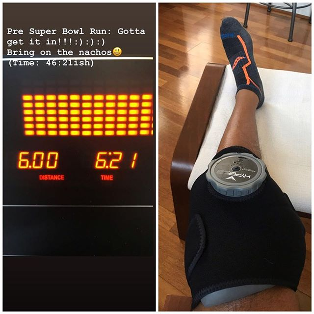 6 mile run yesterday. Recovery today:):):) We all have but so many miles on the tires😃. Make recovery a priority❤️. #runner #ilovetorun #runninghasaprice #besmart #ice #recovery #over40 #takecareofyourself #onebodyonelife #fitness #hyperice #hypervolt #grateful @hyperice