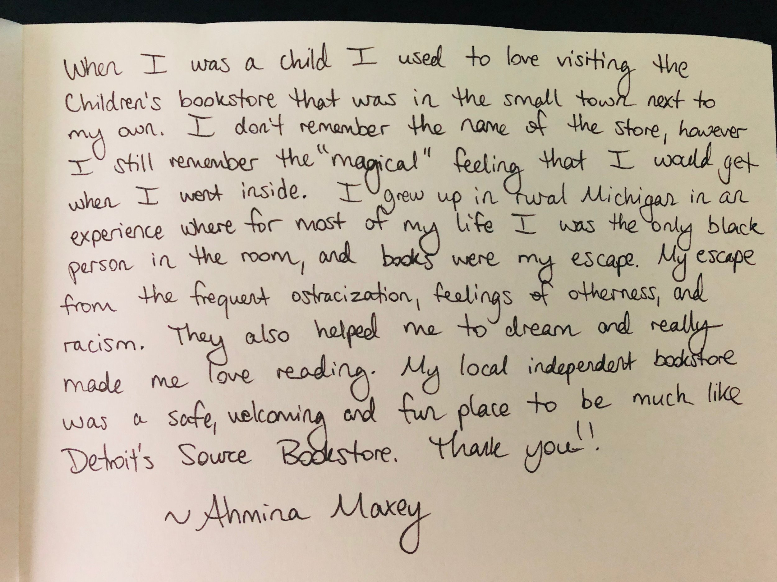 Bookstore Story by Ahmina Maxey