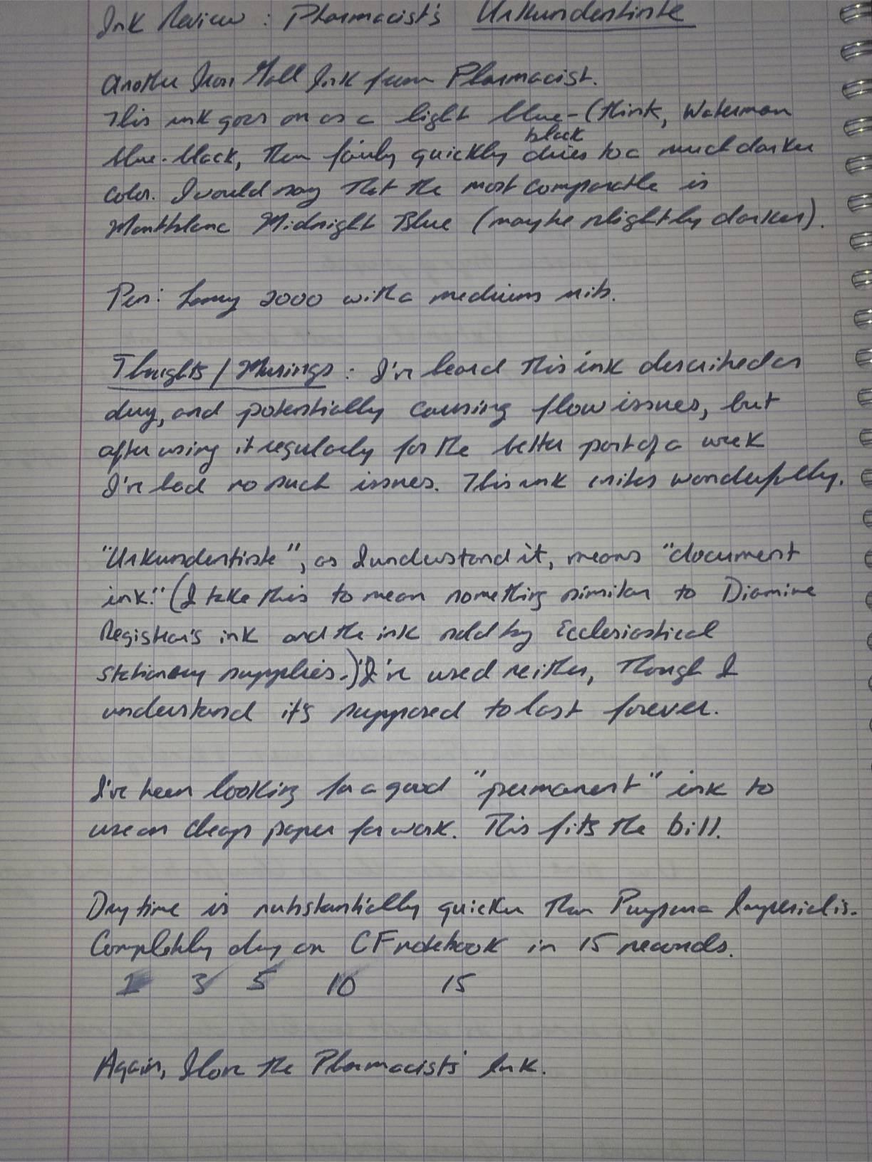 Written Ink Review:  Pharmacist's Urkundentinte