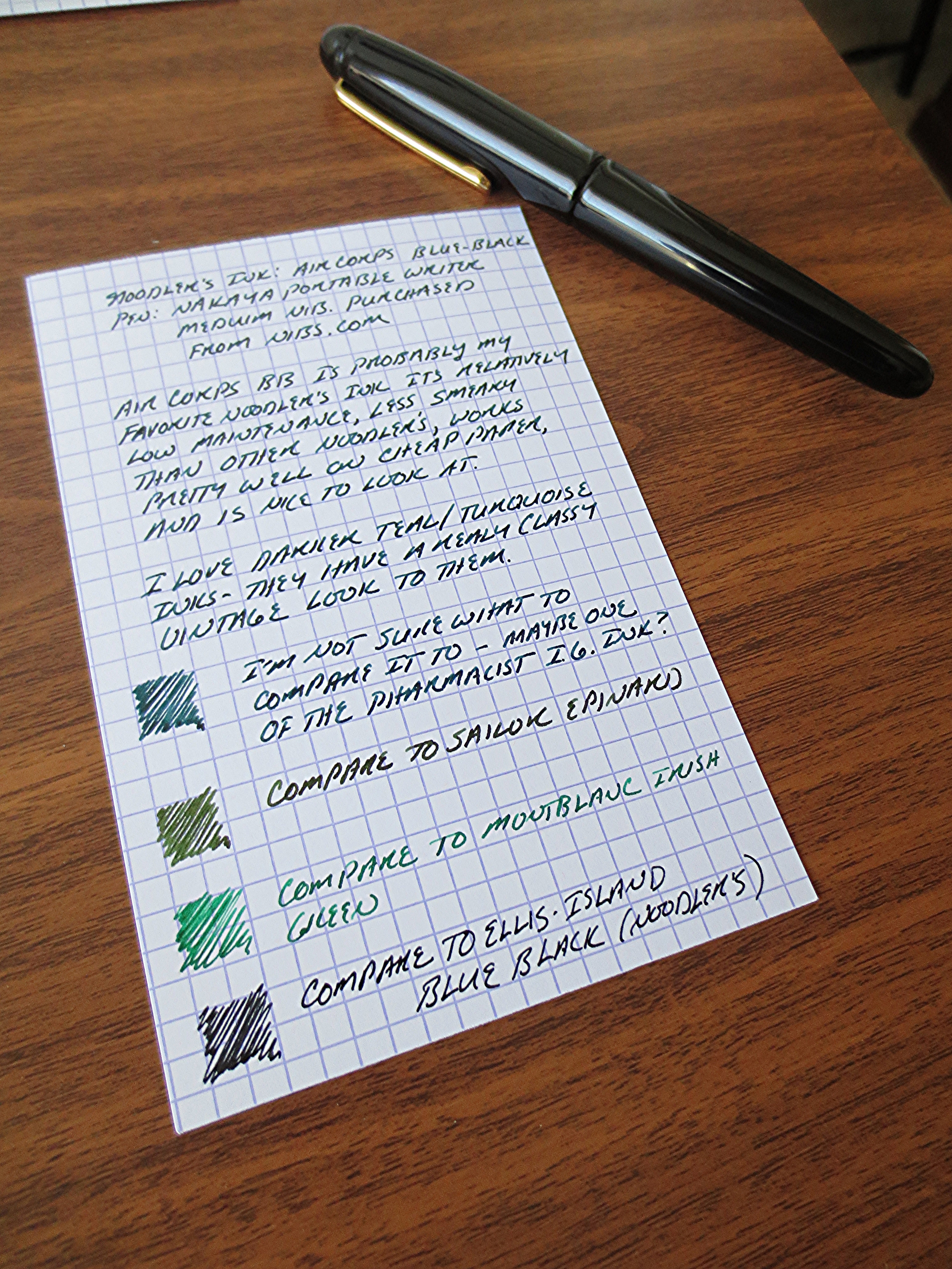 I compared this to three other inks I had loaded up:  Montblanc's Irish Green, Sailor's Epinard, and Noodler's Ellis Island Blue-Black, all of which I like, and the latter of which I really want to love, if not for the fact that it seemingly never dries (in a fine nib, no less).  Grrrr...