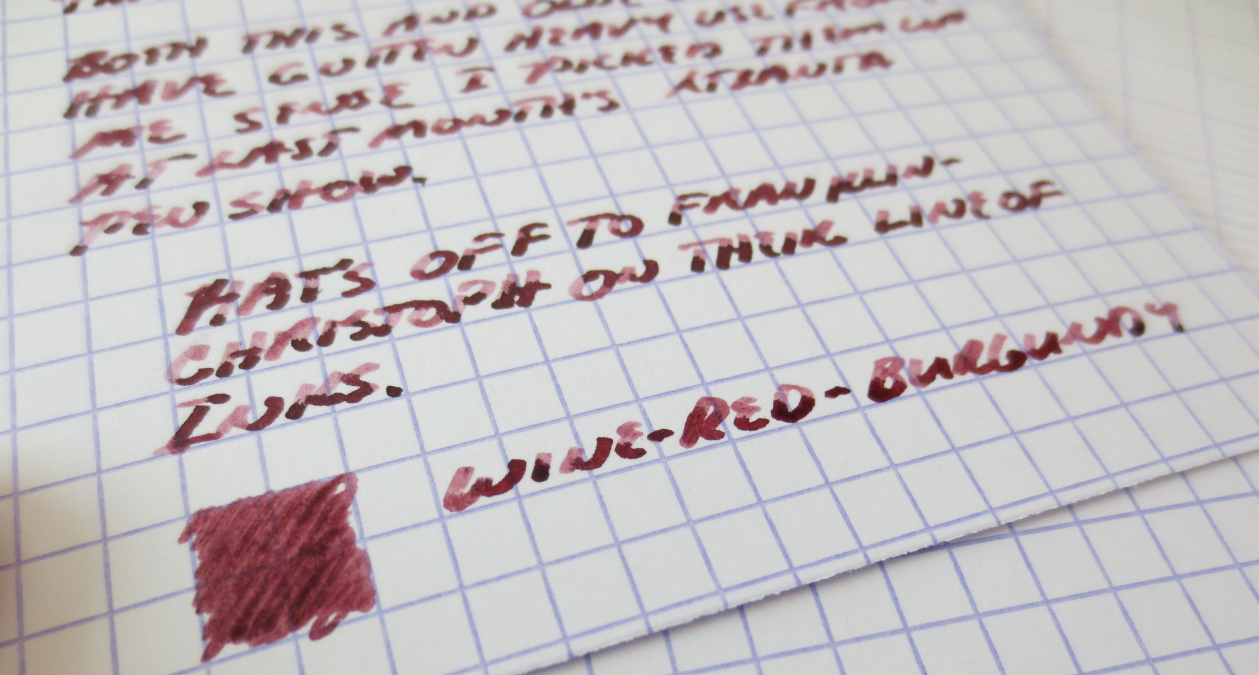 Excellent shading, but if I had one gripe, it's that the ink is fairly watery and sometimes railroads on slicker paper.  This is the same Exacompta Index card stock that I use for all my reviews.  This is a smallish price to pay, however, for a red ink that's as easy to clean out of a pen as this one.