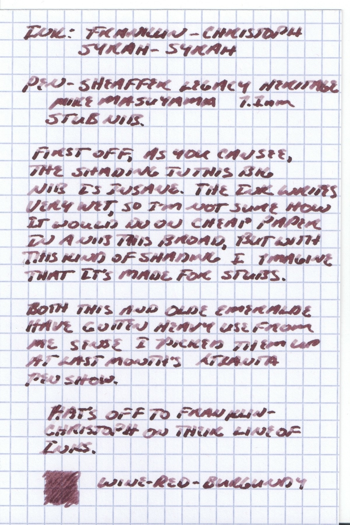 Franklin-Christoph Syrah-Syrah Handwritten Review