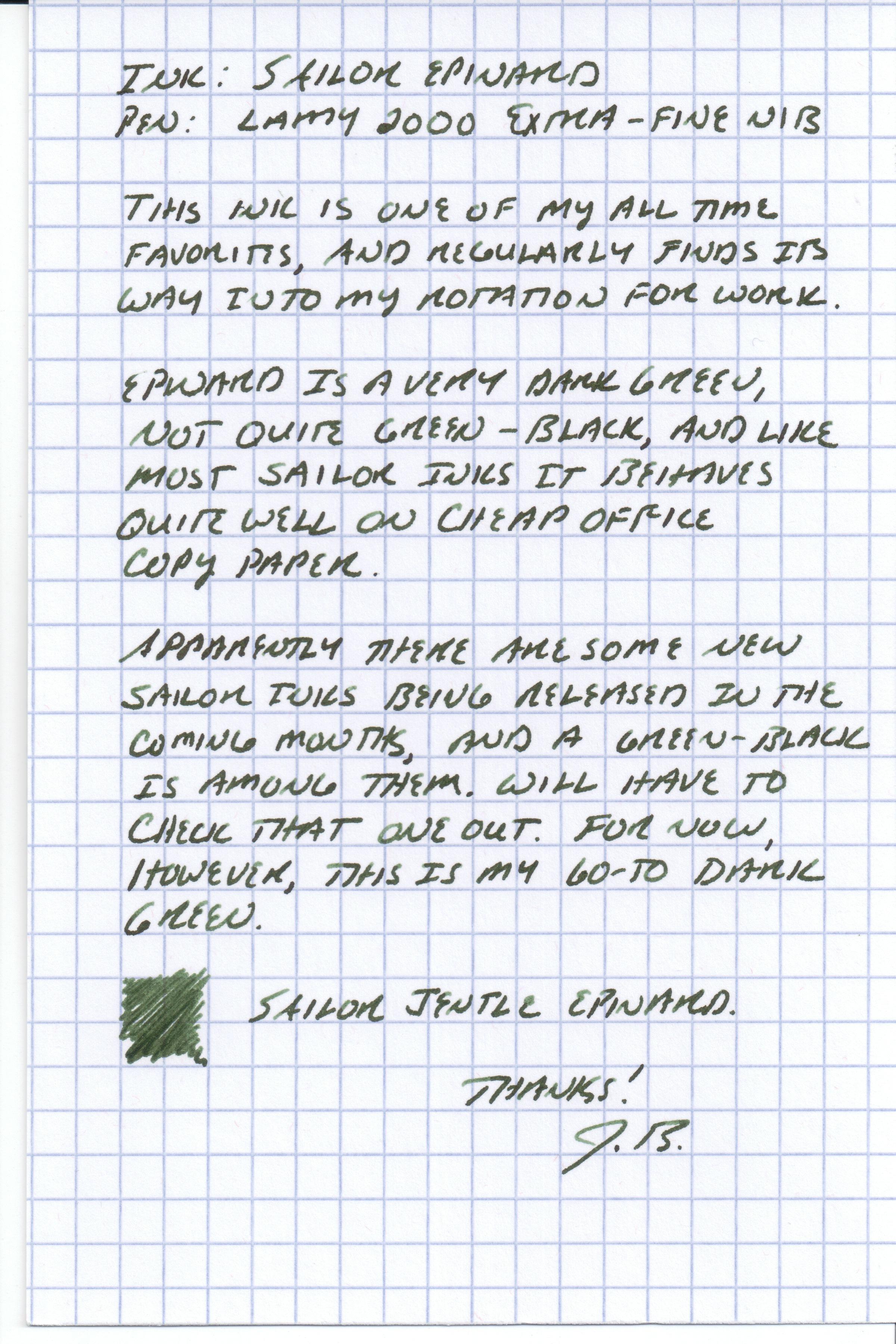 Sailor Epinard Handwritten Review