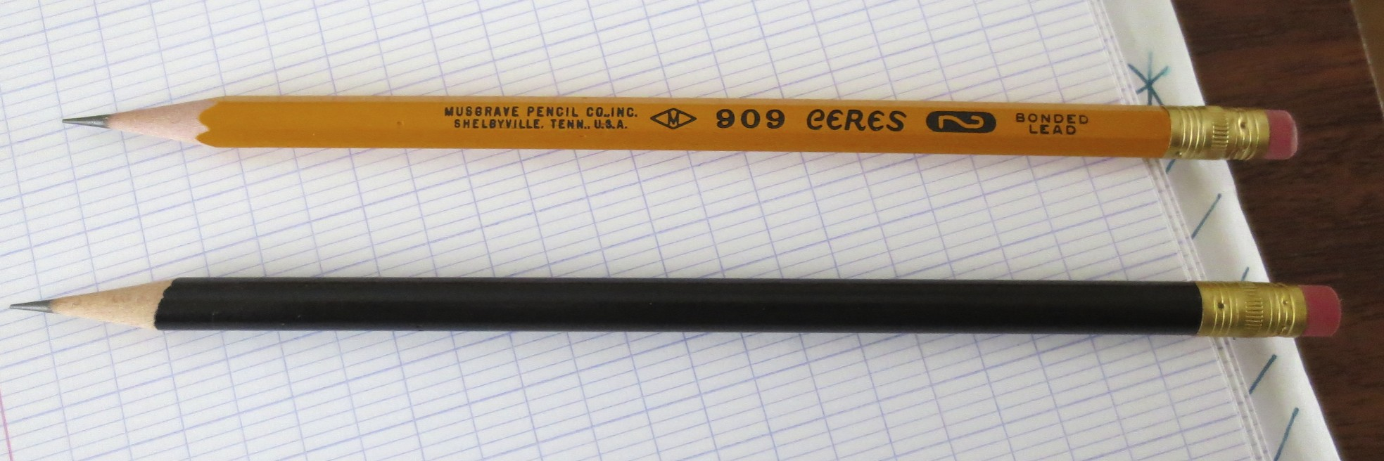 "Top: The Musgrave Ceres 909, their standard #2 pencil, proudly marked as made in ""Pencil City,"" USA.  Bottom: Basic Black #2 pencil."