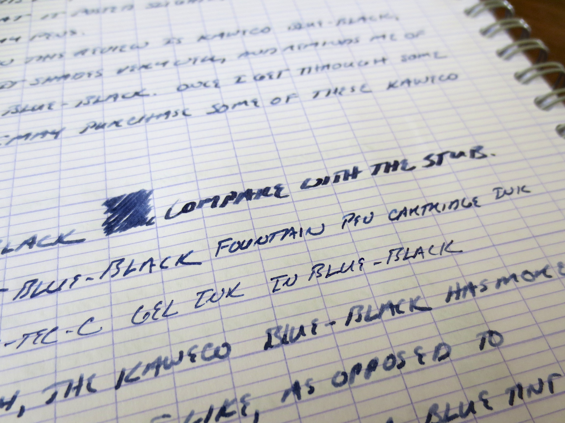 Here you can see a close up of the shading, and compare the Kaweco ink with the Pilot Blue Black ink Cartridge and the Pilot Hi-Tec-C in Blue-Black, two of my favorite daily writers.