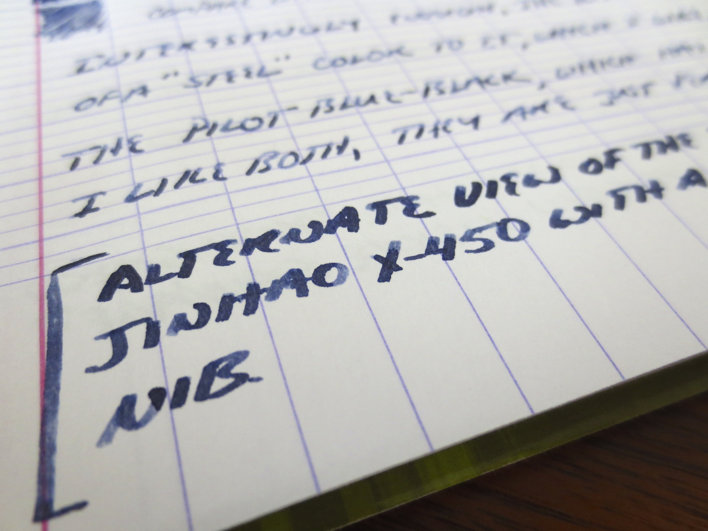 Here's the stub writing sample in close-up, using the previously reviewed Jinhao X-450.