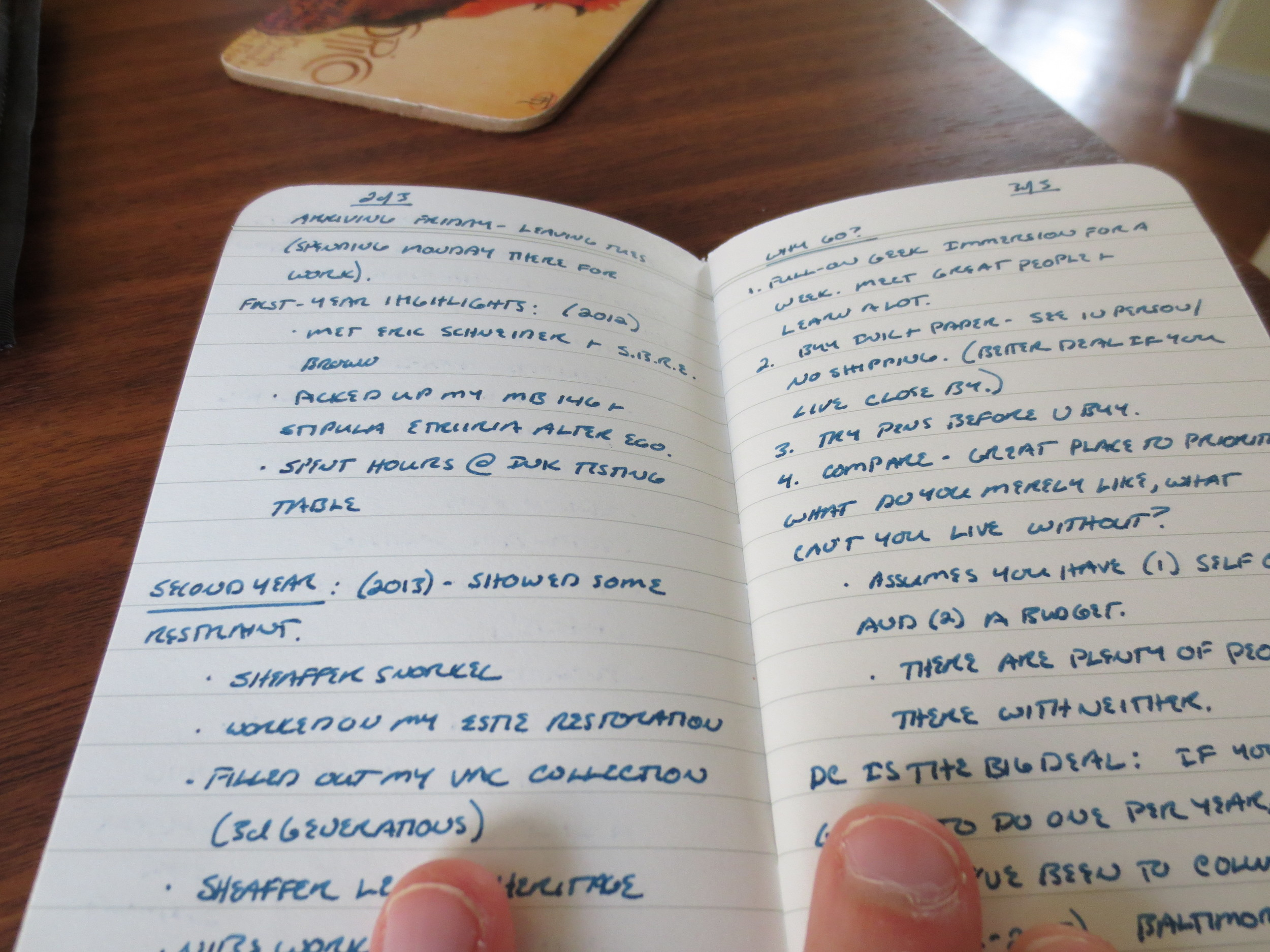 Take a look at the page on the left, which is the flip side of the notebook's first page. No bleed-through at all. There is some minimal show-through, but not near enough to bother me, and this pen is a fairly wet writer.