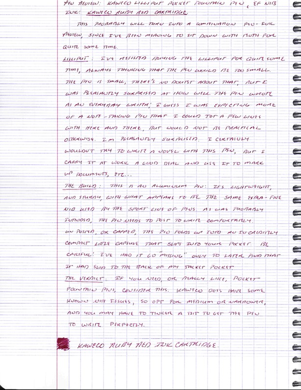 Scan of handwritten review in Kaweco Ruby Red, and ink I've grown to love but a discussion of which is outside the scope of this review.
