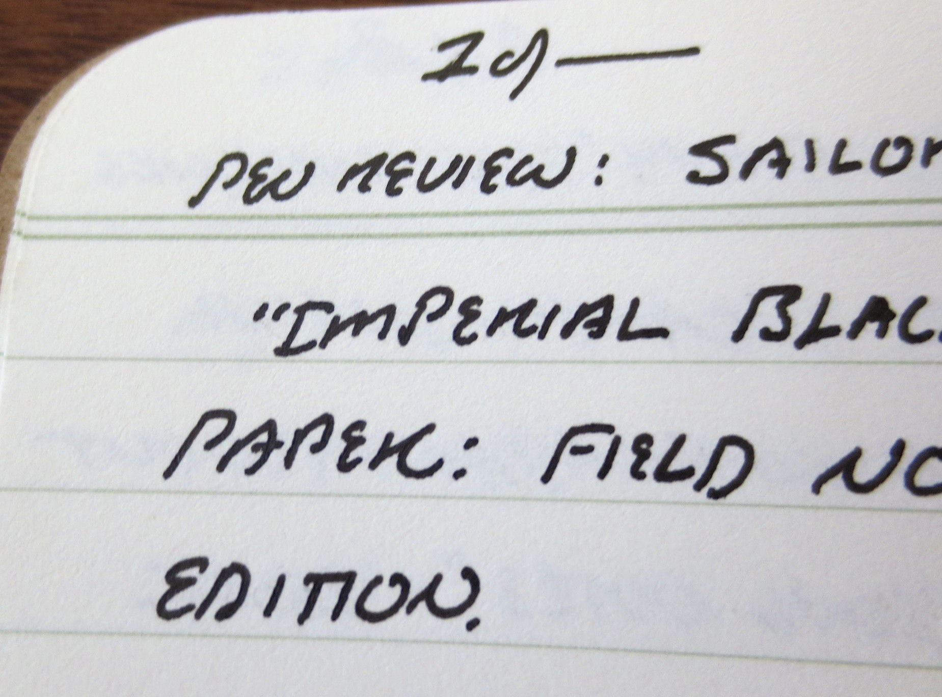 Close-up image of the writing:  Note the very tight lines.  Paper is Field Notes Shelterwood edition.
