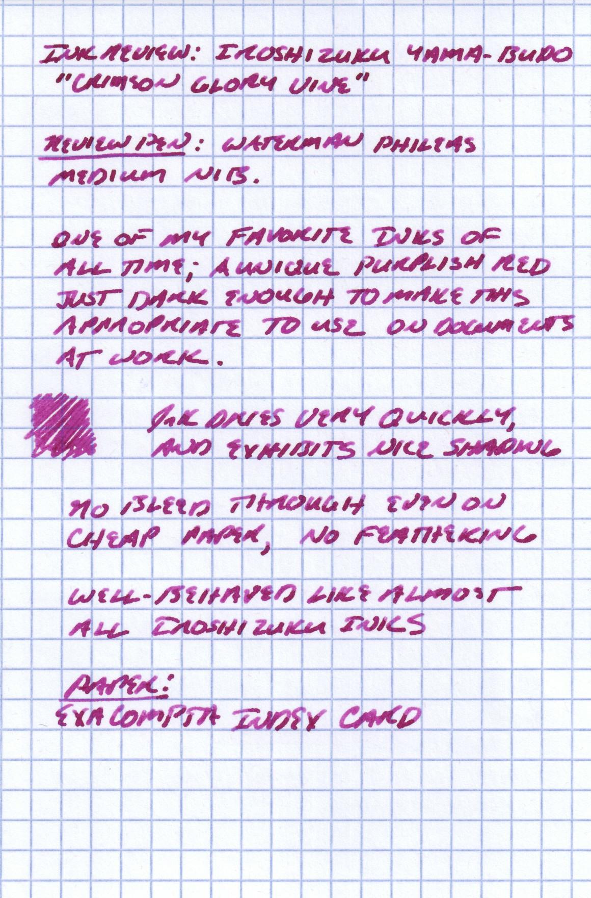Handwritten review of Iroshizuku Yama Budo on Exacompta Index Card stock.