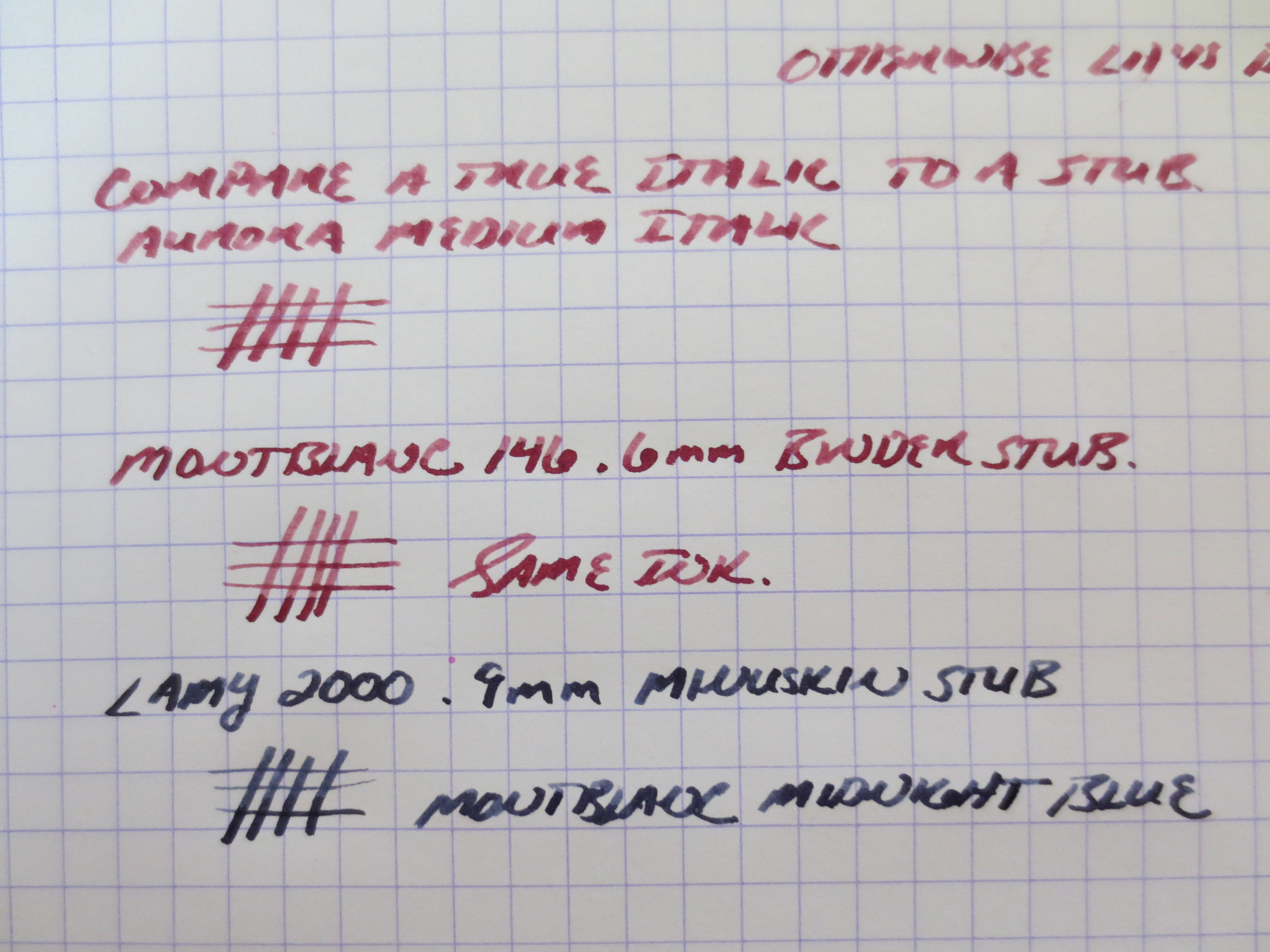After writing with the Aurora blue for a couple of days, I switched things up and loaded the pen with Montblanc Bordeaux (the late-1990s version). I also did some side-by-side writing samples with two custom stubs I have on a MB 146 and a Lamy 2000. Note the shading in the italic nib, while the stubs write a wetter line and have slightly less line variation.