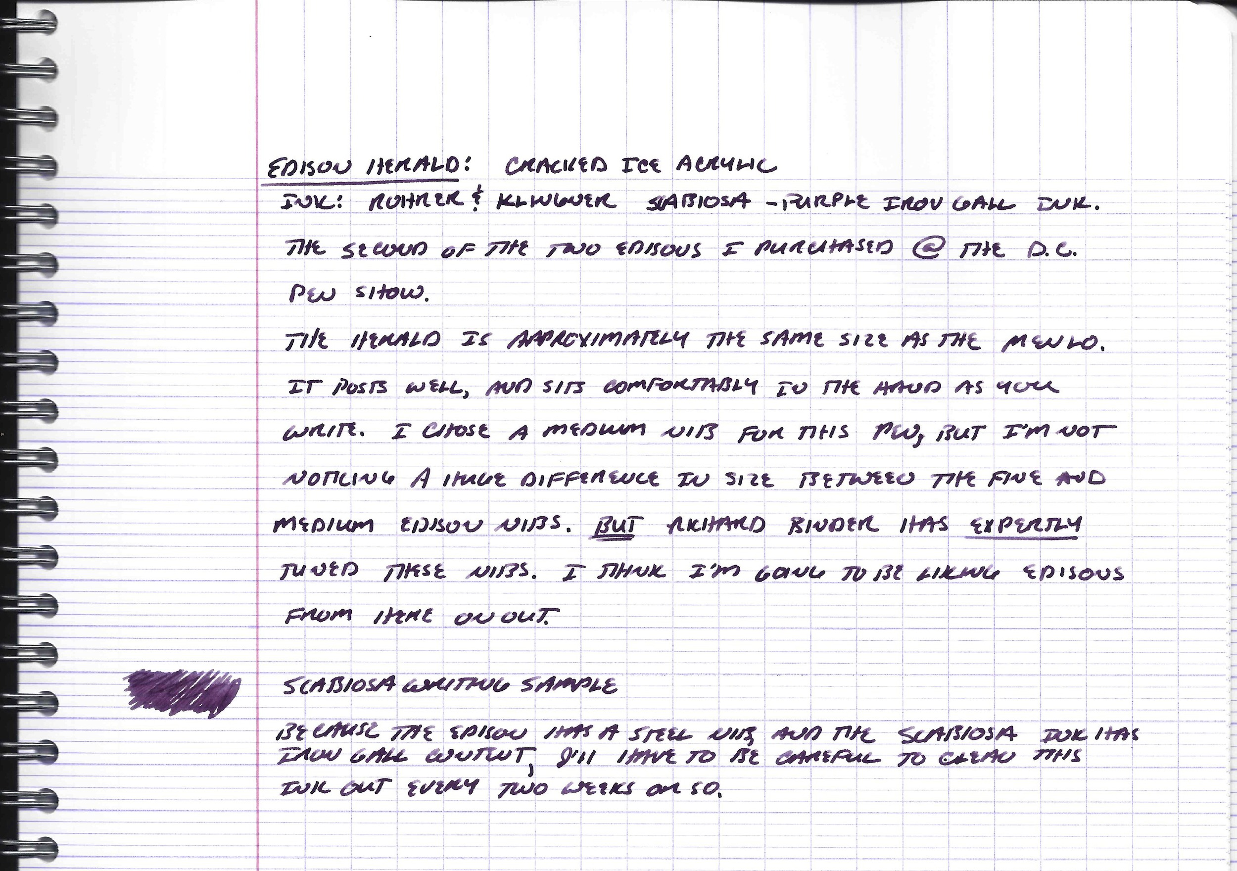 Edison Herald handwritten review on Clairefontaine french-ruled paper in Rohrer & Klingner Scabiosa Ink.