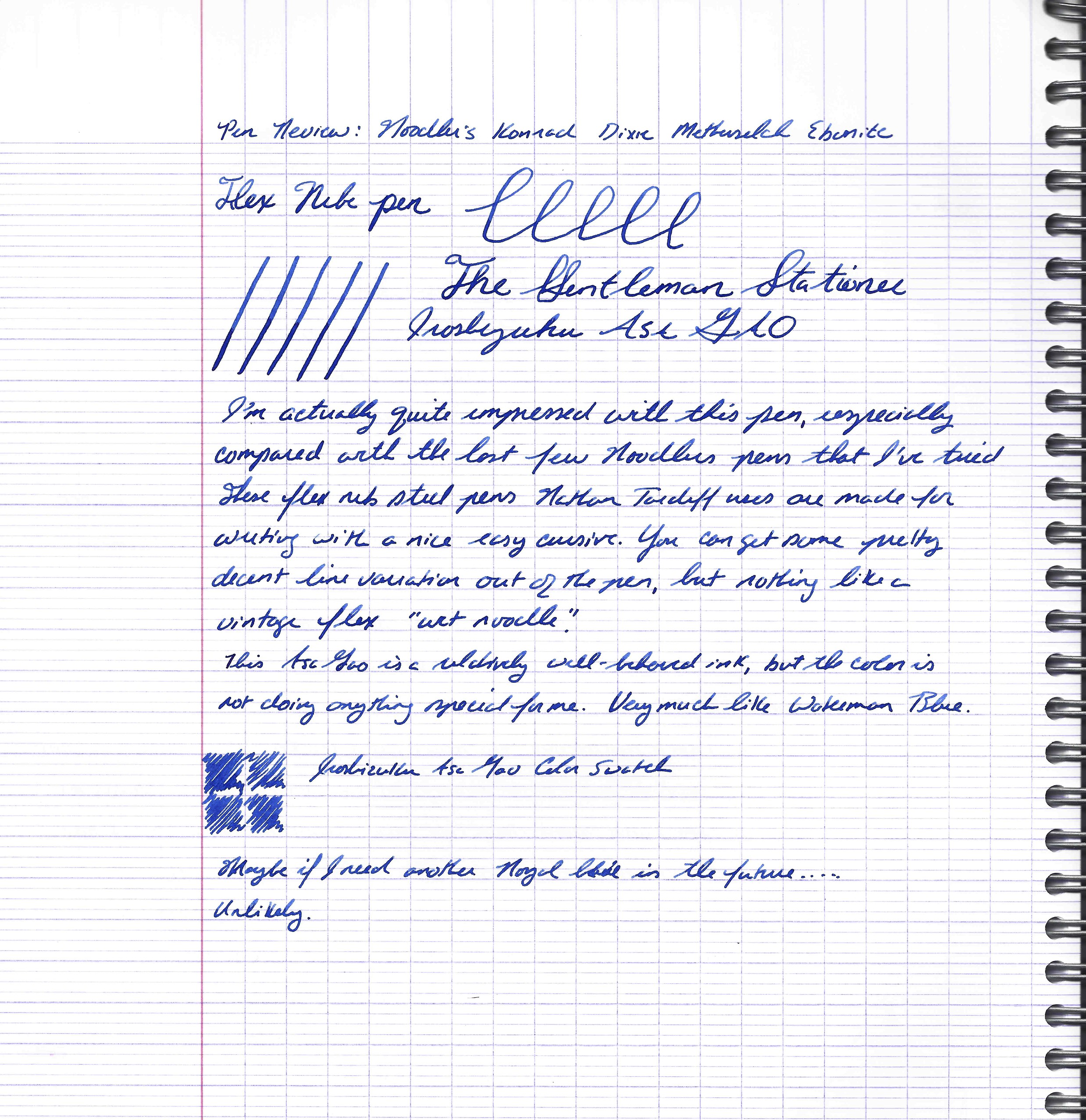 Konrad writing sample with Iroshizuku Asa-Gao, on Clairefontaine Seyes-ruled paper.