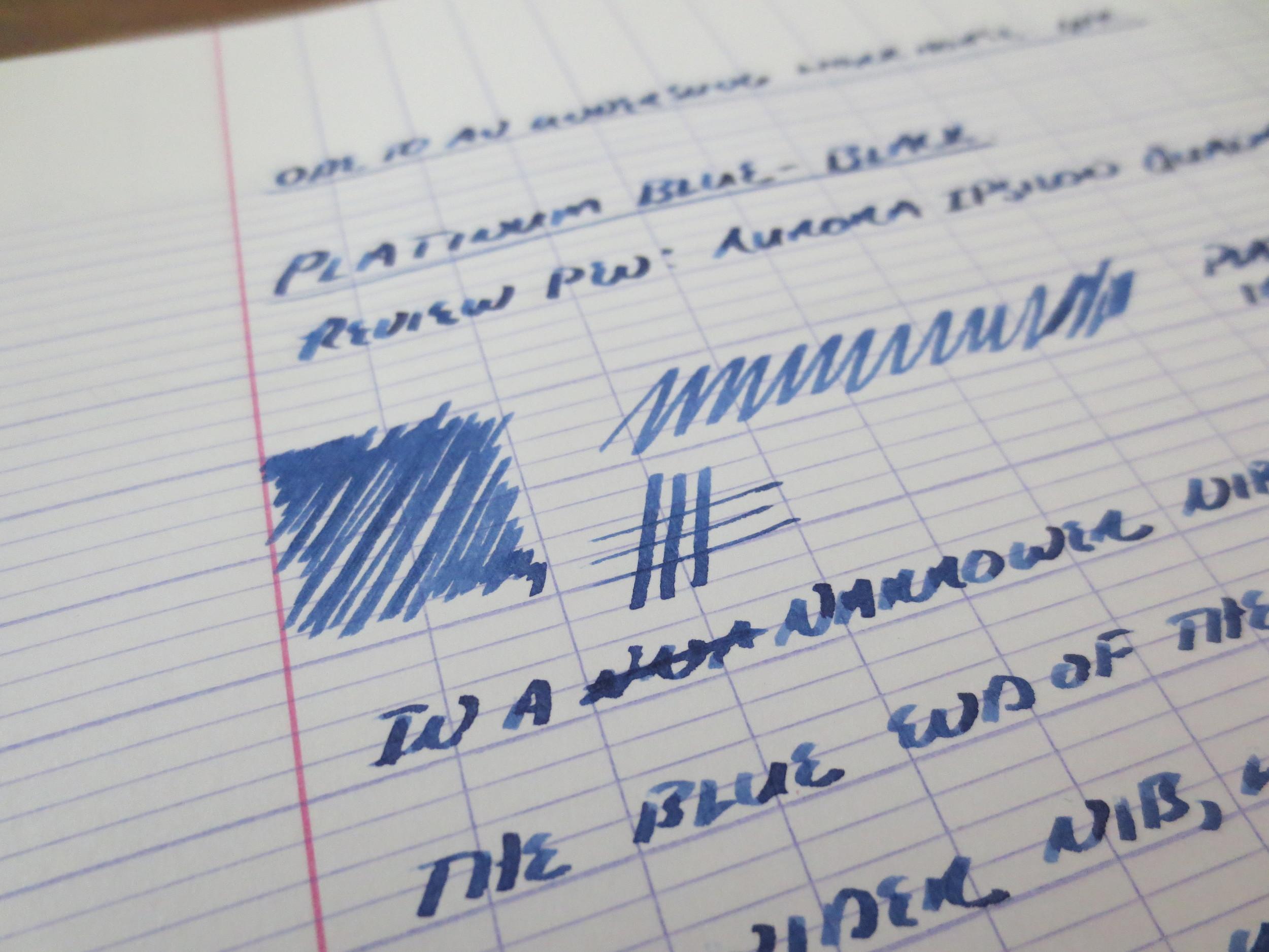 Platinum Blue-Black Writing Sample Shading