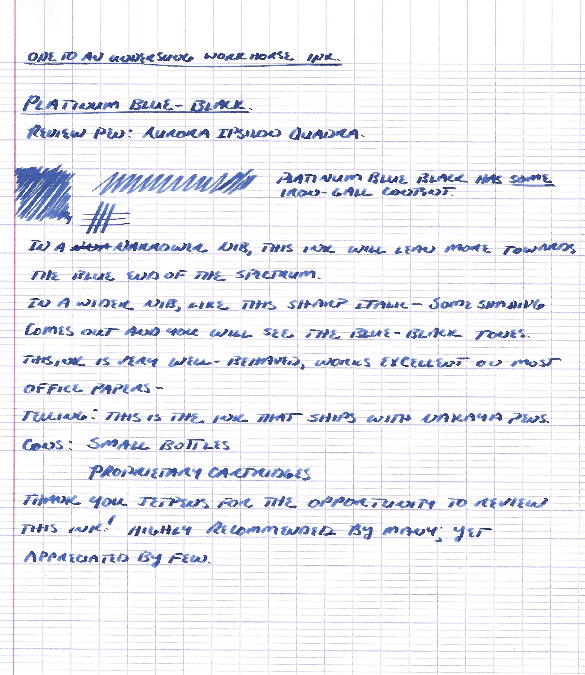 Handwritten review with Aurora Ipsilon Quadra fountain pen, stub nib.
