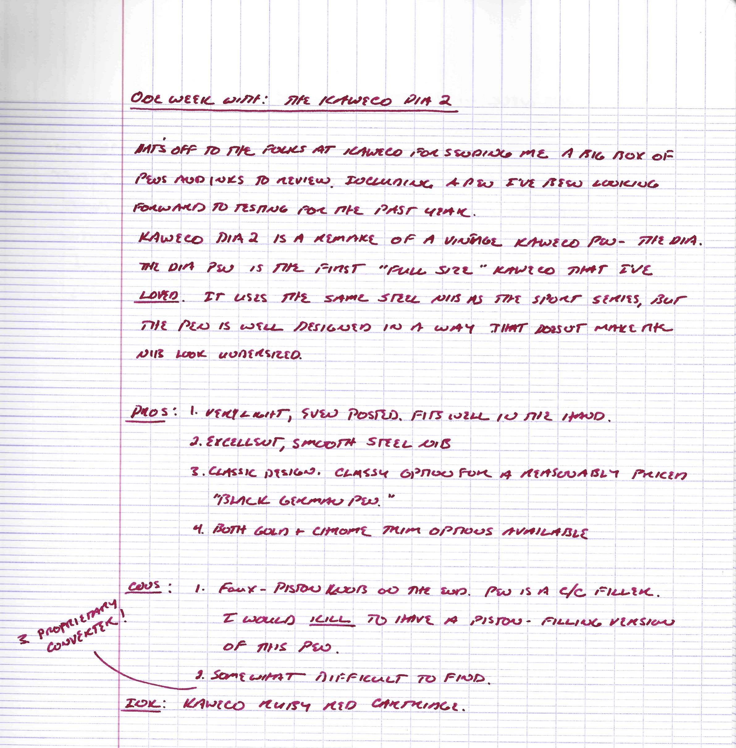Handwritten ink review in Kaweco Ruby Red
