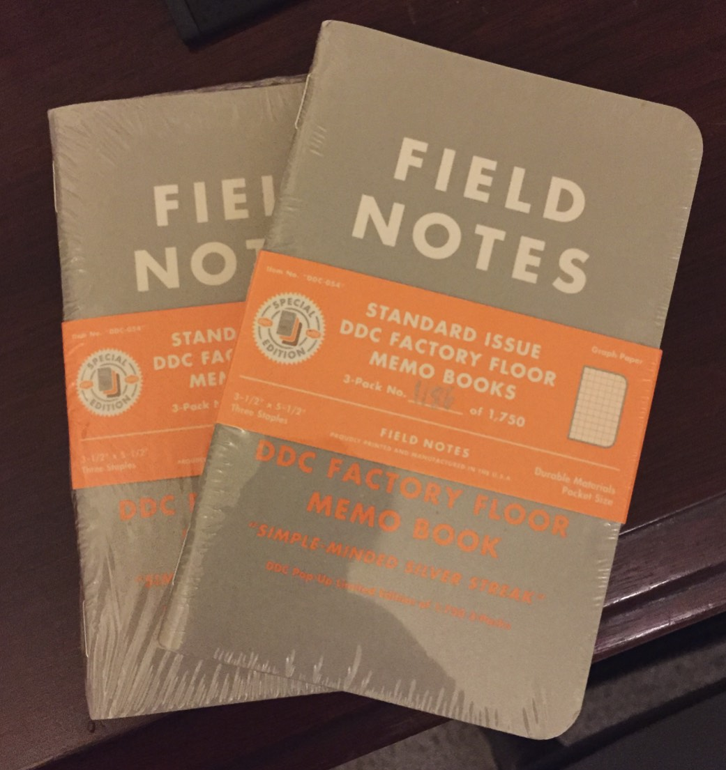 Limited Edition DDC Factory Floor Field Notes in Package