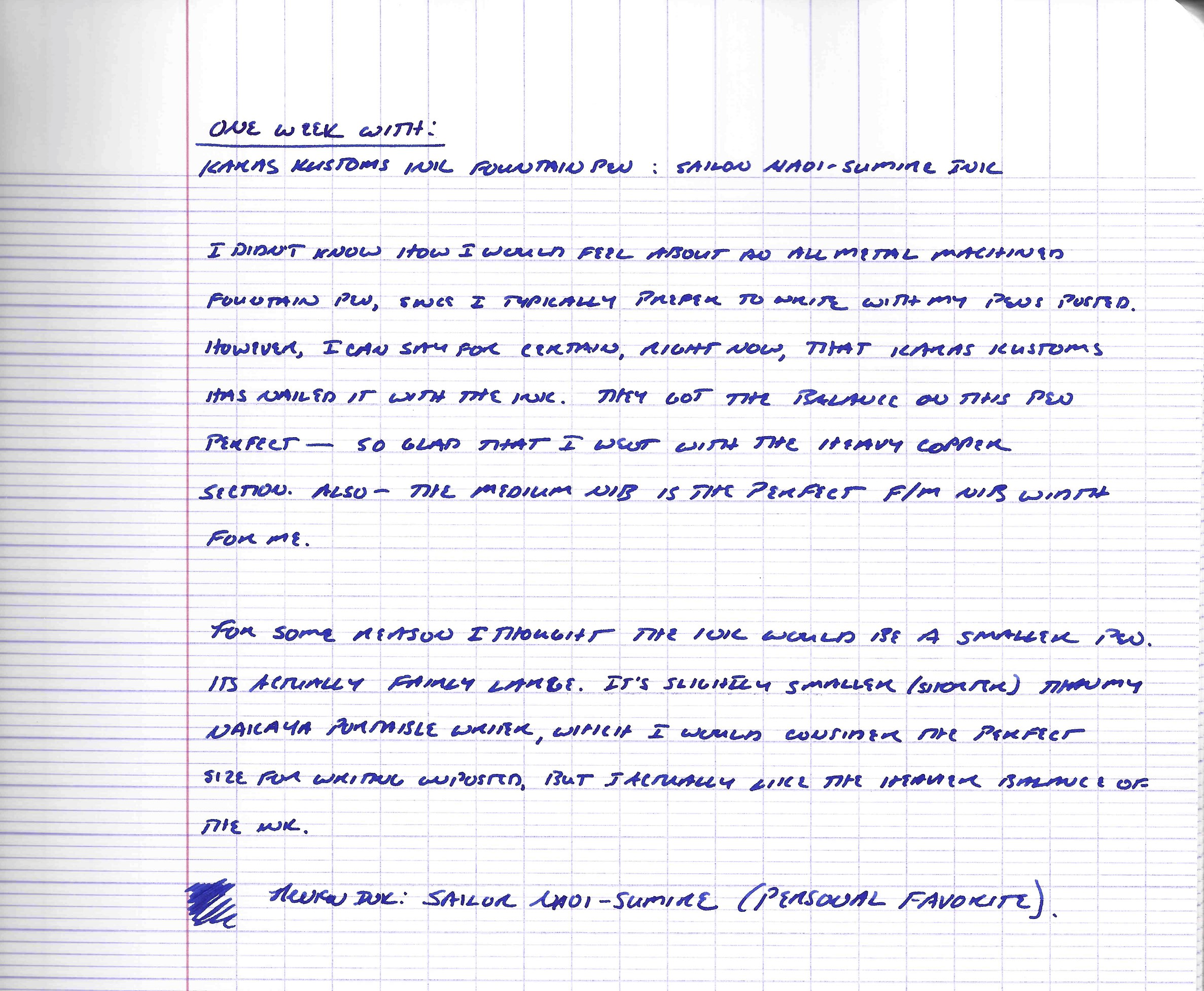 Karas Kustoms Ink handwritten review with Sailor Naoi-Sumire.