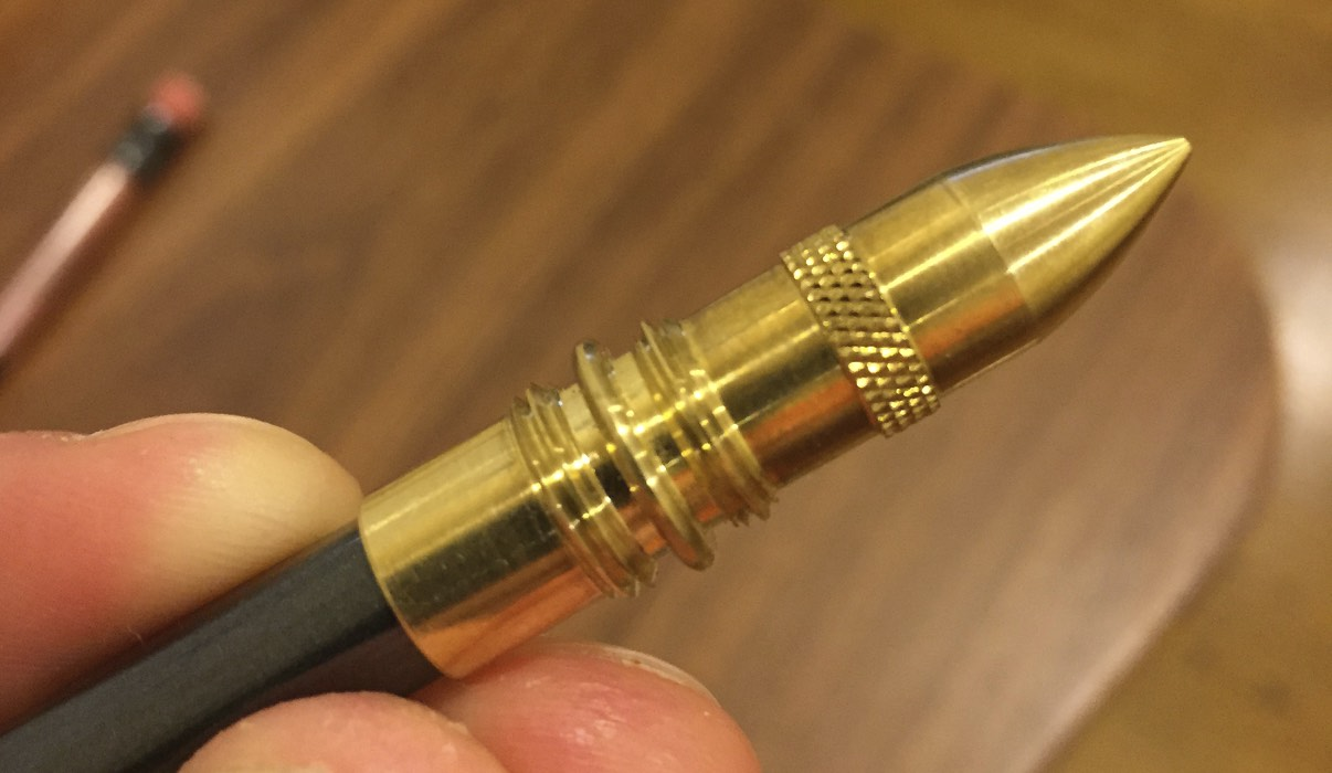 "The brass ""bullet"" is well-machined, and the threads seem to be cut with precision.  Word of caution:  the bullet tip is  sharp ."