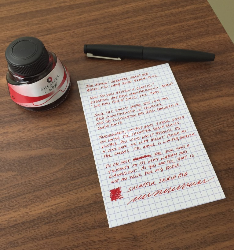 "Sheaffer ""Slovenian Skrip"" Red.  Handwritten review with Lamy 2000 EF."