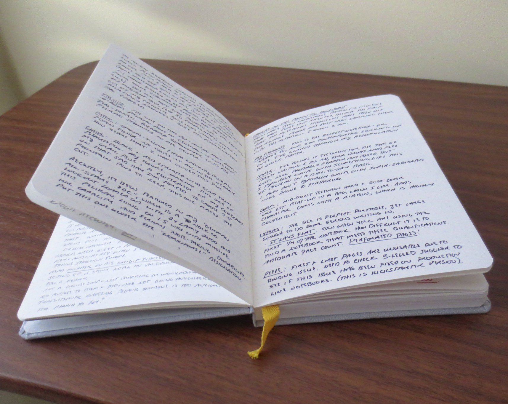 A notebook that actually lies flat without having to hold it open with your hand!
