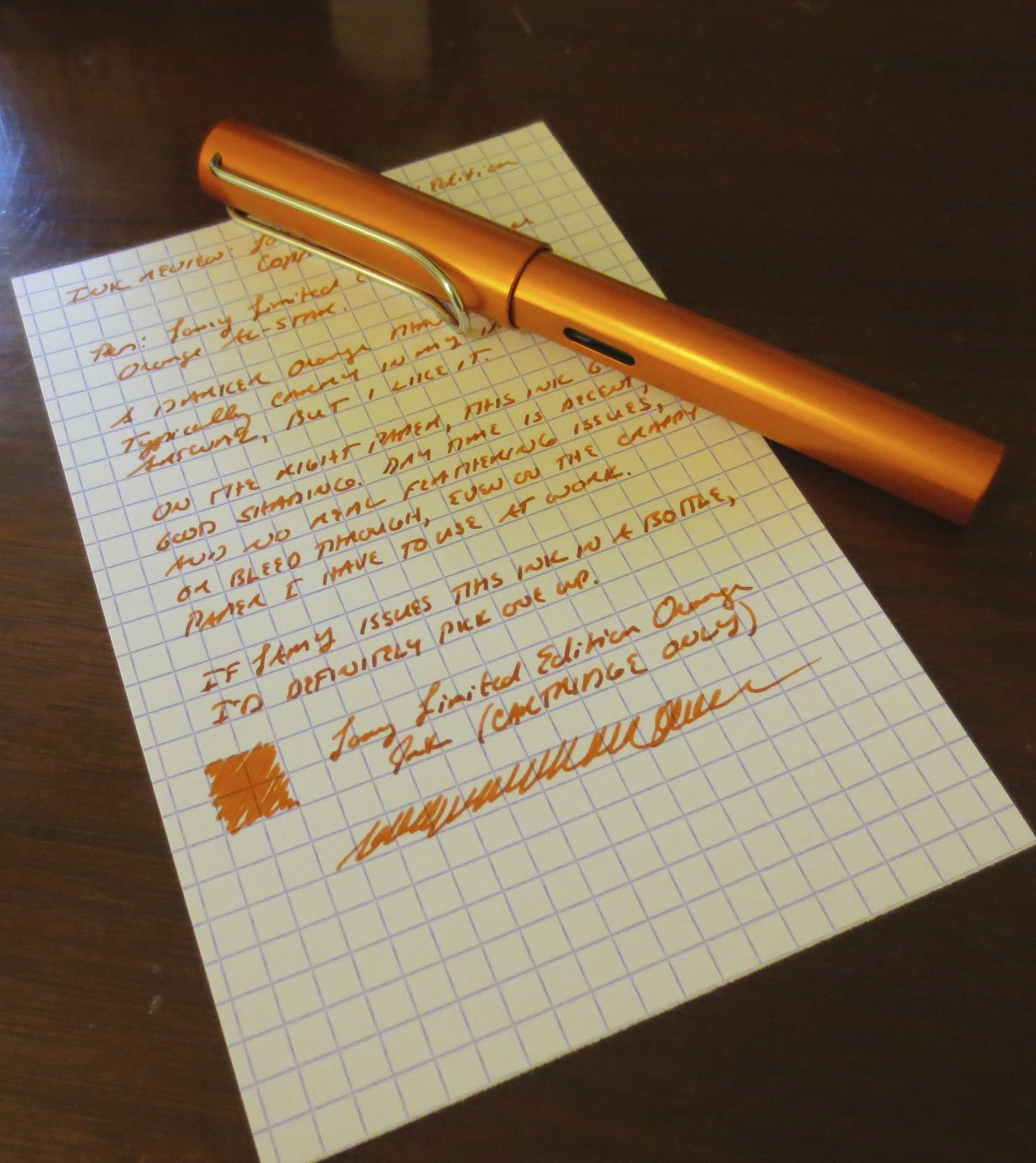 My new Lamy Copper Orange AL-Star with Lamy Copper Orange Ink cartridge.  Paper is Exacompta Index Card Stock.