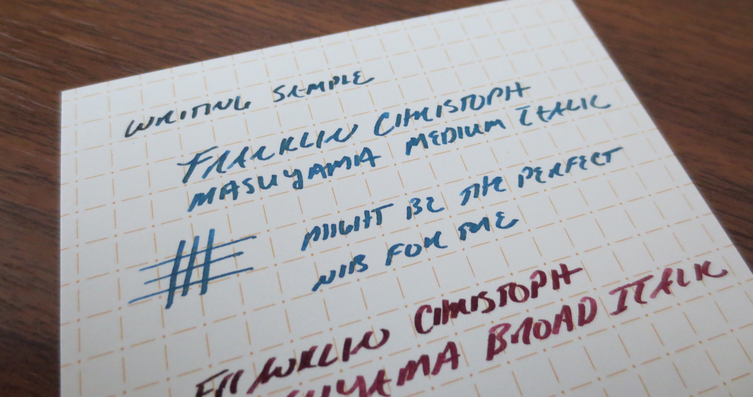 Writing Sample for the Model 65 (Masuyama Medium Cursive Italic) in Waterman Blue-Black.