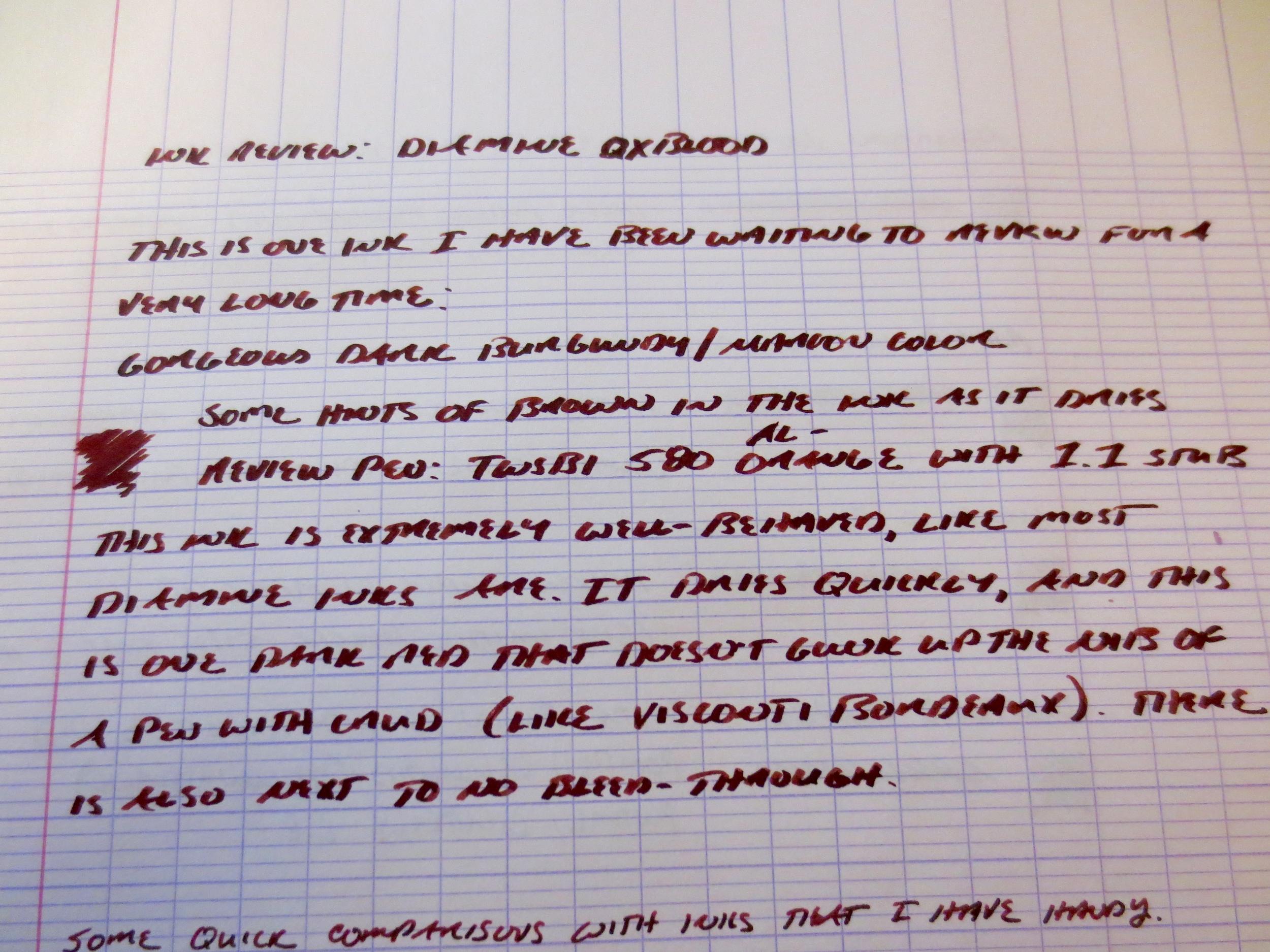 Diamine Oxblood Writing Sample