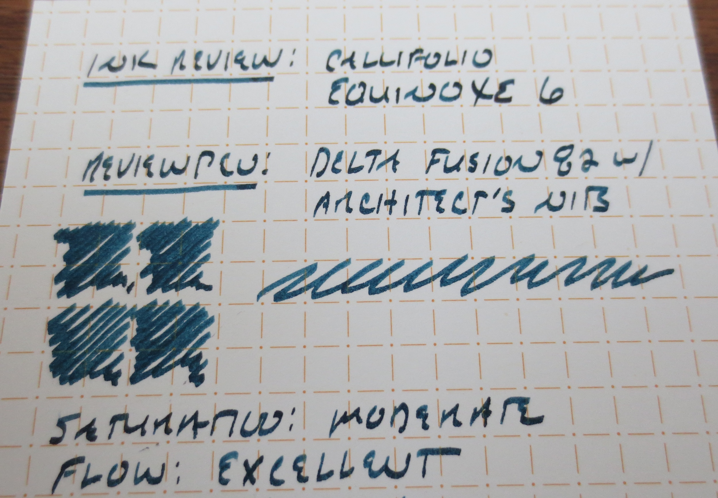 Callifolio Equinoxe 6 writing sample.