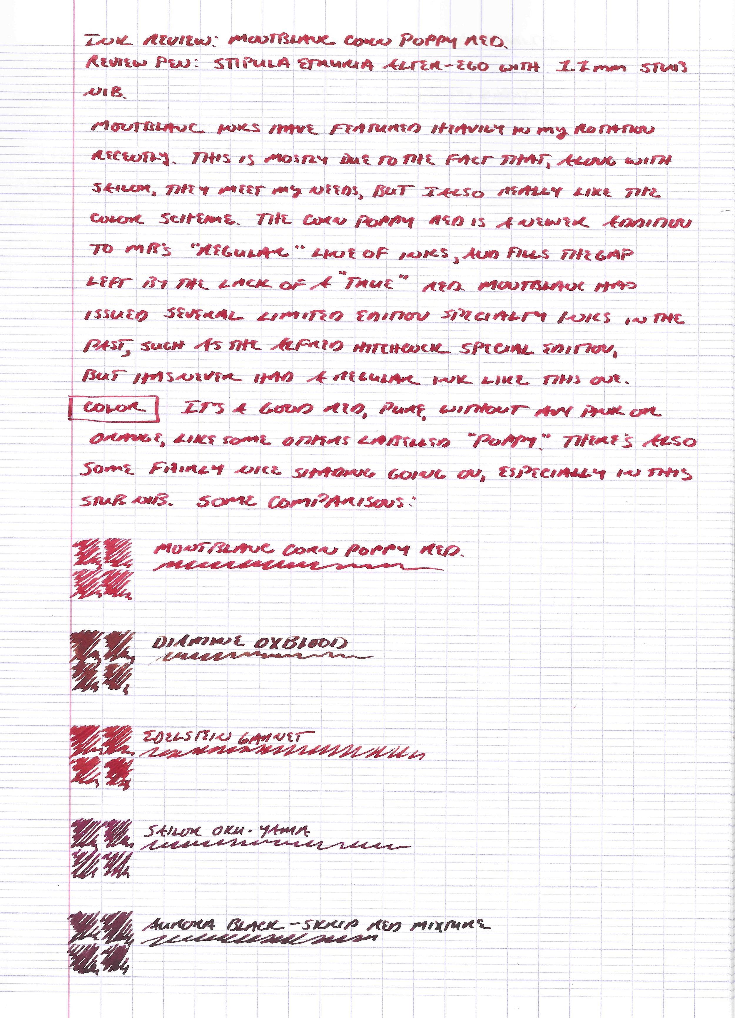 Writing sample with some comparisons on Clairefontaine French-ruled (Seyes) paper.  The closest comparison is the Edelstein Garnet, which is a slightly darker color.