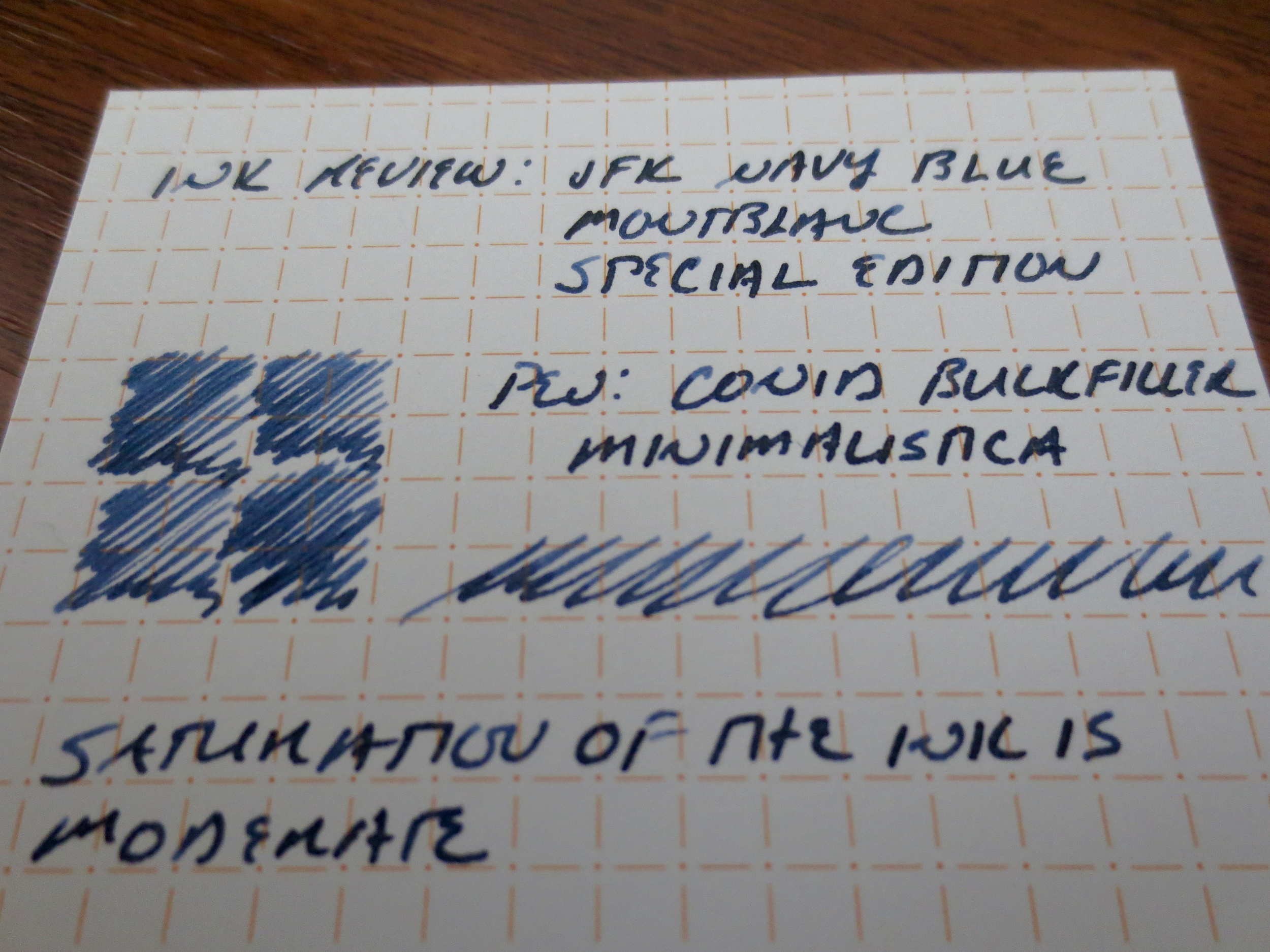 The writing sample here is done with a Conid Bulkfiller Minimalistica (fine nib) on Nock Co. Dot-Dash notecards.