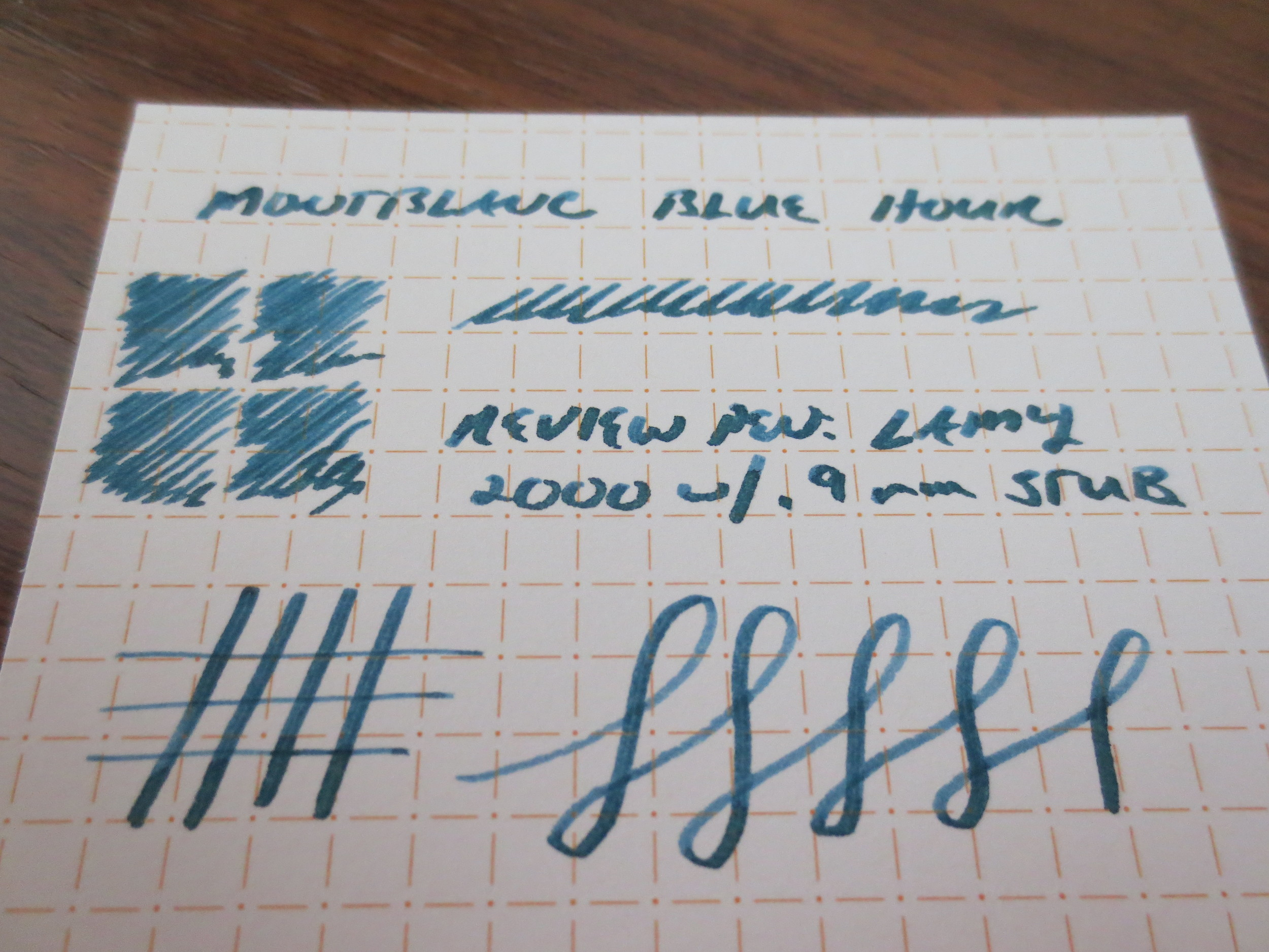 "Montblanc describes the ink as a ""Twilight Blue."" It exhibits some nice shading in a stub nib.  Here, I used my  Lamy 2000 with the .9mm Minuskin Stub Nib ."