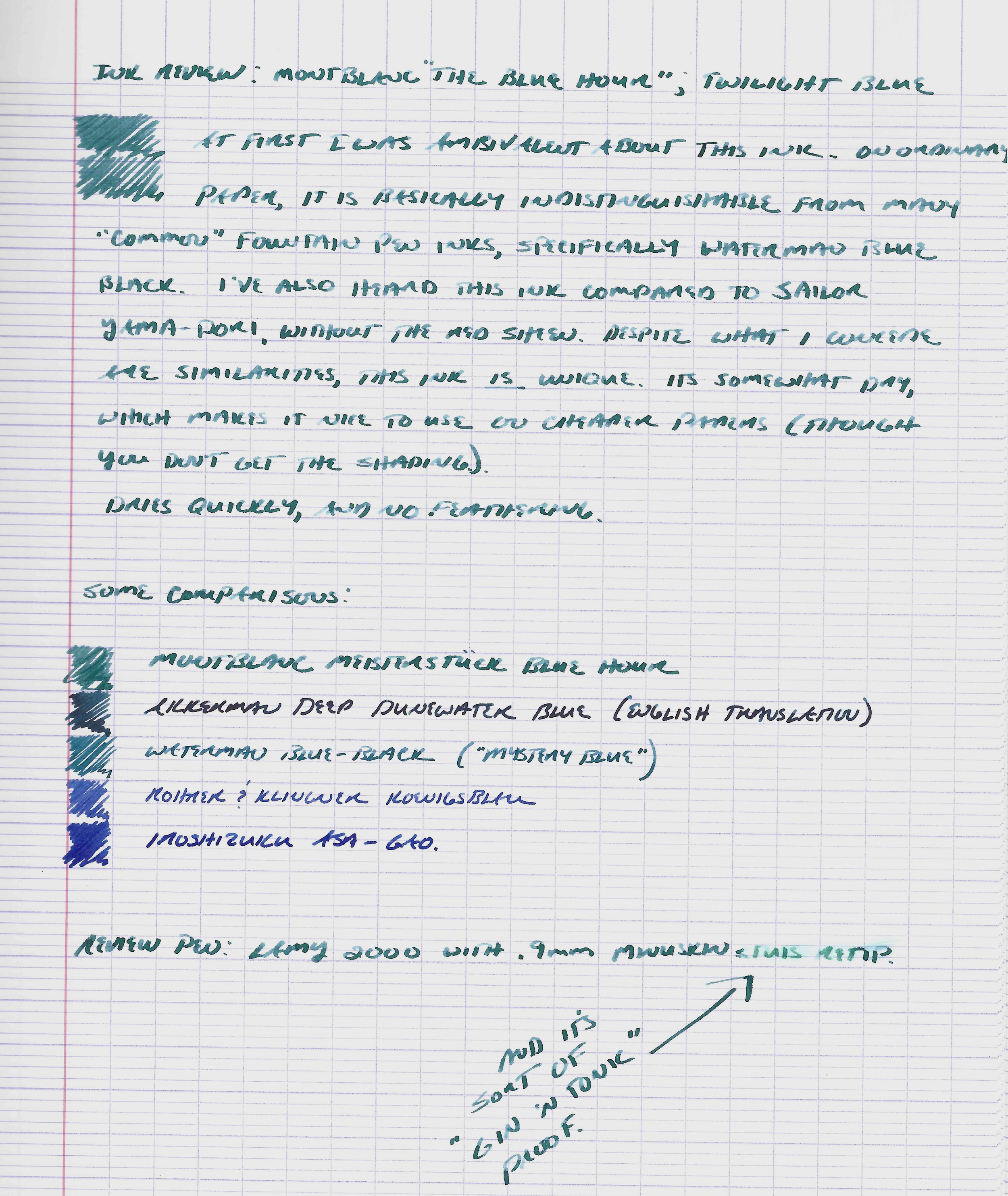 "A full page writing sample and color comparison with my ""waterproofing test"" at bottom right.  Paper is French-ruled Clairefontaine."
