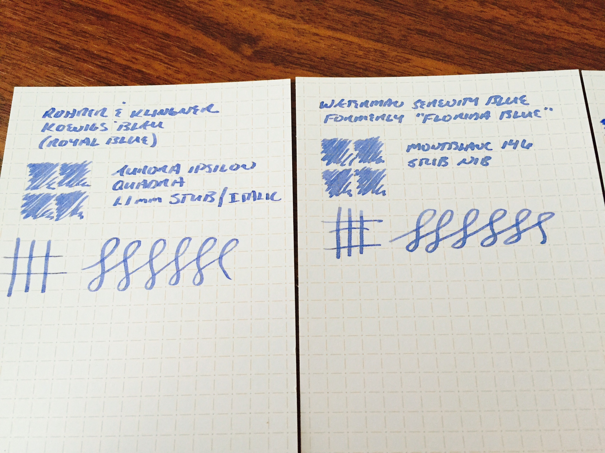 Writing sample of Koenigsblau and Waterman Serenity/Florida Blue.  Note that each of these inks appears fairly washed-out when dry, at least on less absorbent paper like Clairefontaine or these Nock Co. dot-dash cards.