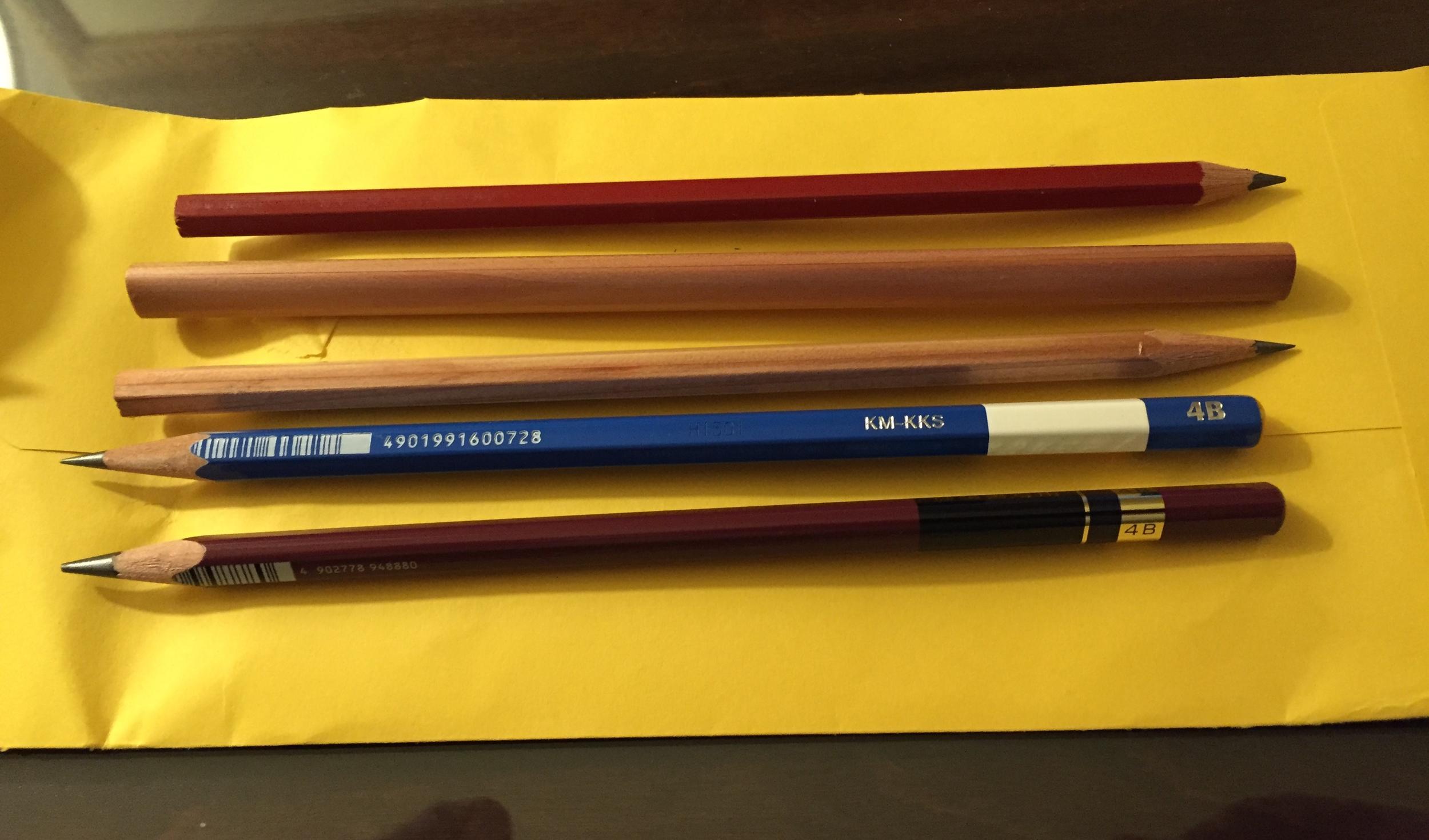 From the top: Viarco Desenho B (No. 1); Tombow 2B triangular pencil (mini jumbo); Viarco Eco HB (No. 2); Tombow Mono 4B; and Triangular Mitsubishi Penmanship Pencil (4B). Yes, I exercised some self-restraint.