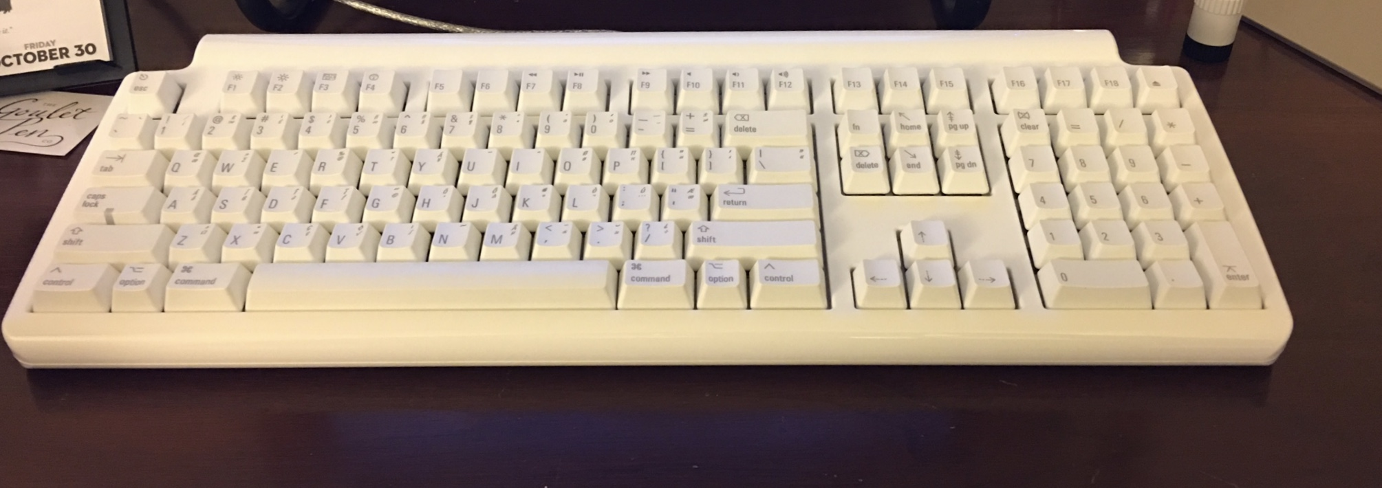 The Matias Tactile Pro v.4 Mechanical Keyboard on my desk. It's big, ugly, and awesome.