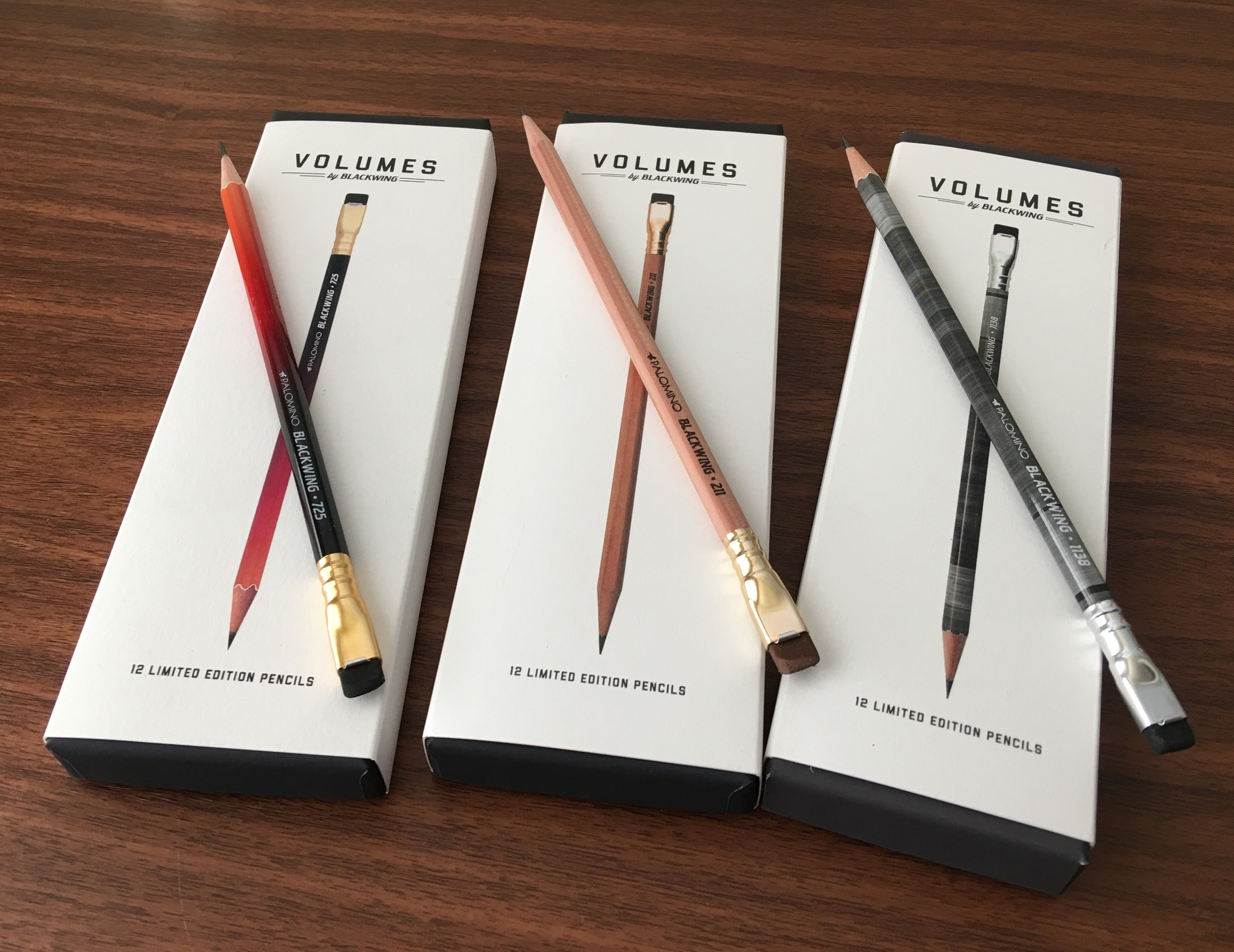 "These, of course, are  the Blacking ""Volumes"" Limited Edition pencils .  From left, the Blackwing 725, the Blackwing 211, and the Blackwing 1138."
