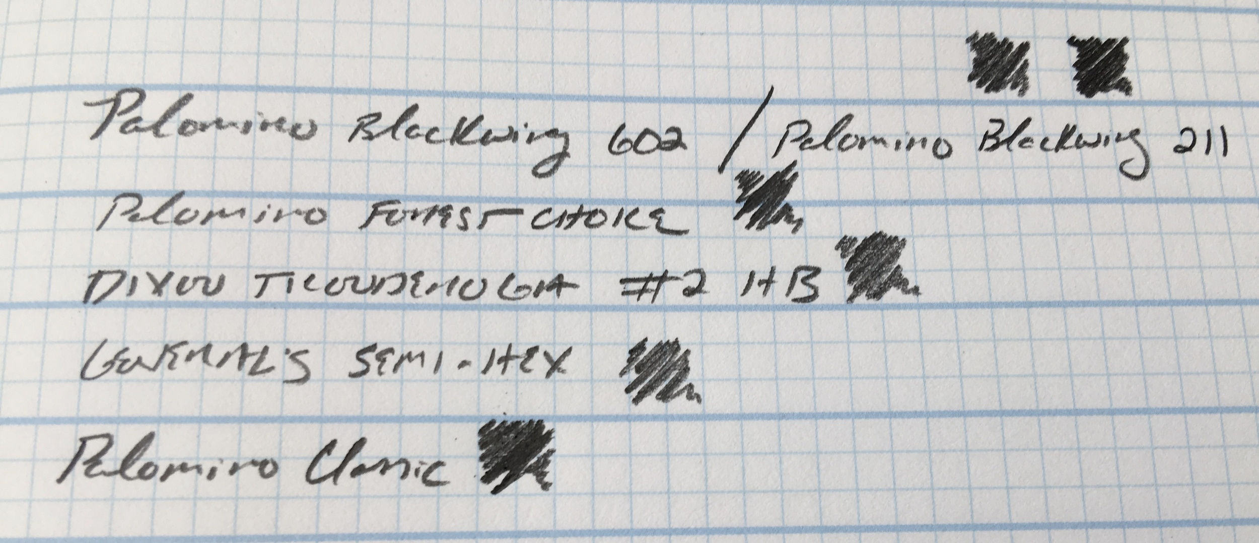 Writing Sample for my Top Five Pencils: the classic Palomino HB wins on softness/darkness, though the Forest Choice and Blackwings are close. Sample on  Doane Paper .