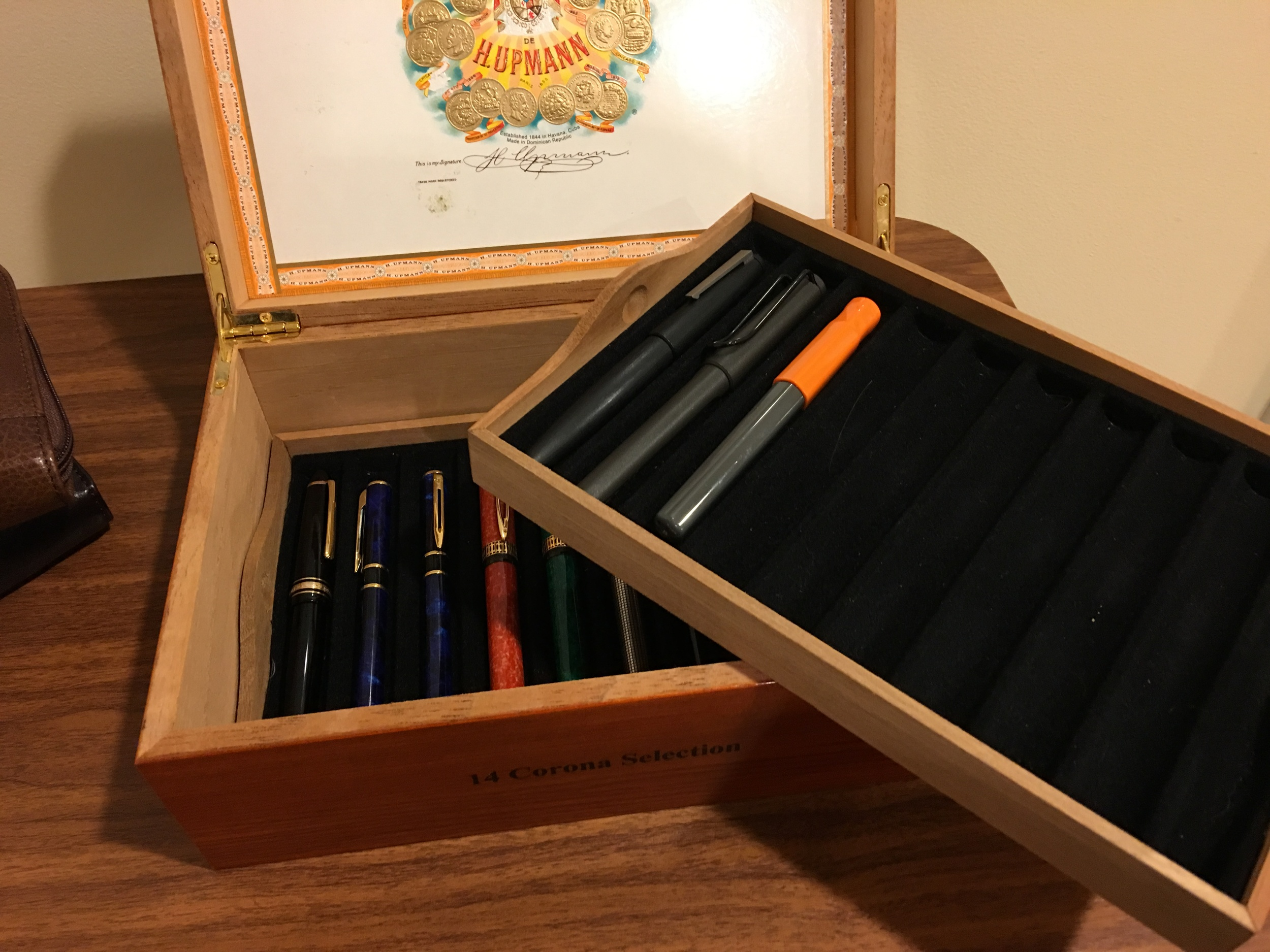My homebrew cigar-box pen chest, made from an old H. Upmann cigar box.
