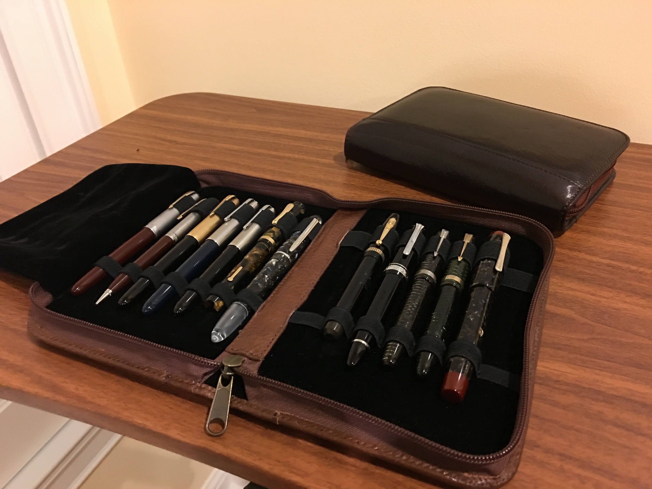 Aston leather 10-pen folio (though I've found you can easily get 14 pens into this case).